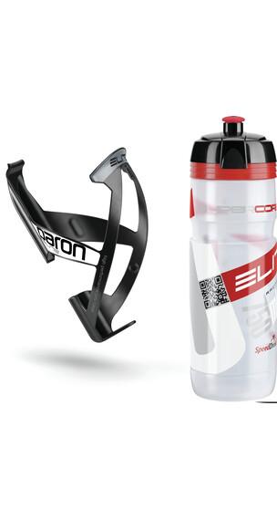 Elite Kit Supercorsa/Paron Trinkflasche & Halter 750 ml clear-rot/schwarz-weiß